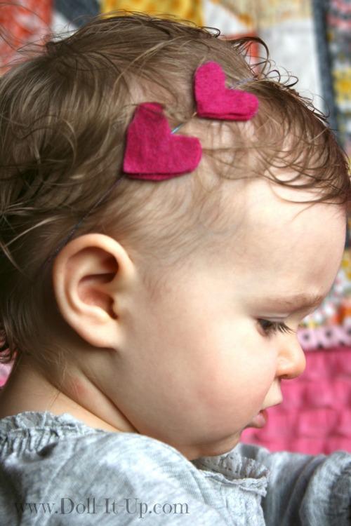 felt heart headband for babies or dolls