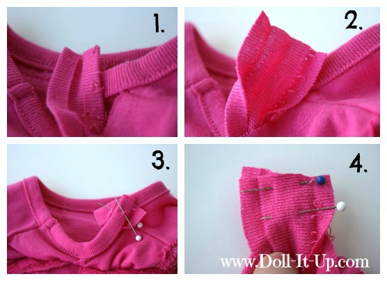 Doll dress from a shirt via Doll It Up 03