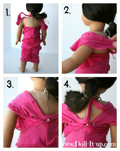 Doll dress made out of a shirt via Doll It Up 04