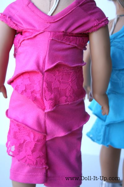 Ruffle Doll Dress Upcycled from a Shirt - 10