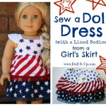 A Doll Dress {with a lined bodice} from a Girl's Skirt