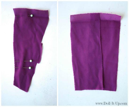 Doll dress from a girls skirt-3