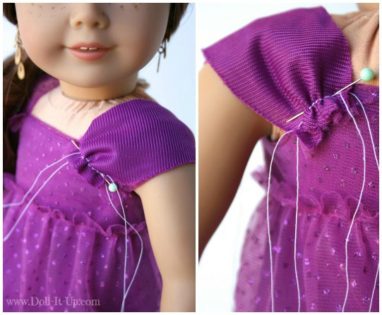 Doll dress from a girls skirt-5