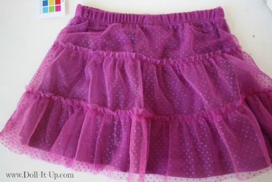Doll dress from a girls skirt-6
