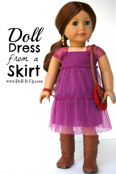 Make a doll dress from a skirt