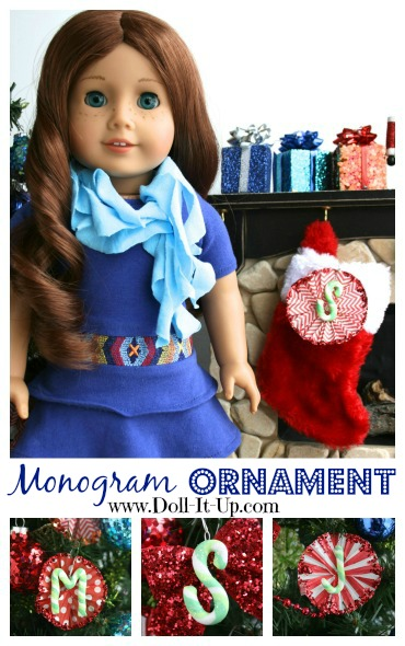 Make a monogram ornament for dolls and one for girls too!