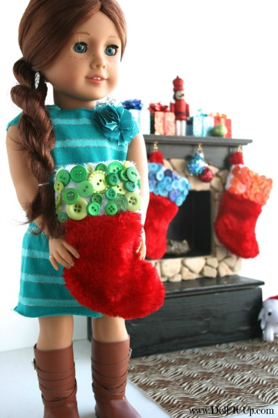 Decorate a mini stocking for dolls with colorful buttons