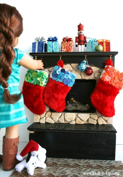 Decorate a mini stocking with buttons for dolls!