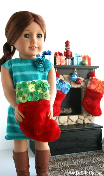 Decorate mini stockings for dolls with buttons