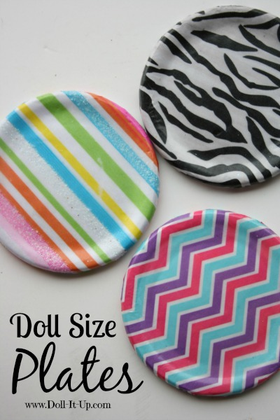 Doll size plates made with tissue paper and Mod Podge