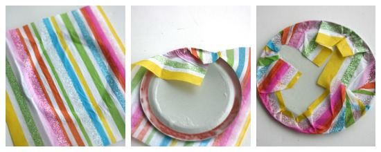 Make a doll size plate with tissue paper and Mod Podge-2