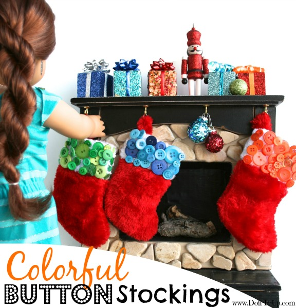 Use colorful buttons to decorate mini stockings for dolls