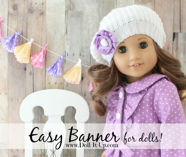 Sn Easy banner for dolls made out of cupcake wrappers